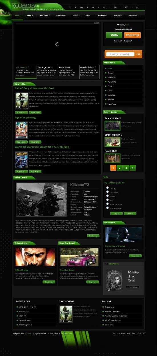 yougames youjoomla avjthemescom - Yougames - Joomla Gaming Template