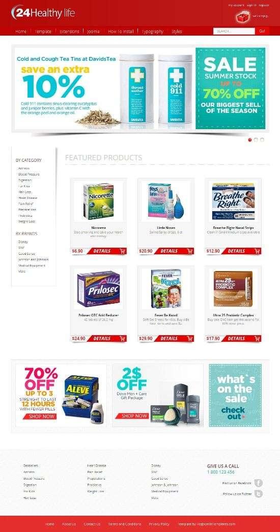 hot drug store hotjoomlatemplates - Hot Drug Store Joomla Template