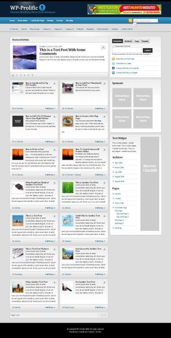 wp prolific solostream - WP-Prolific 1.0 Wordpress Theme