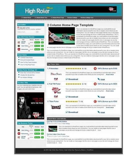 high roller blue wordpress Theme 550x630 - Flytonic Premium Wordpress Themes