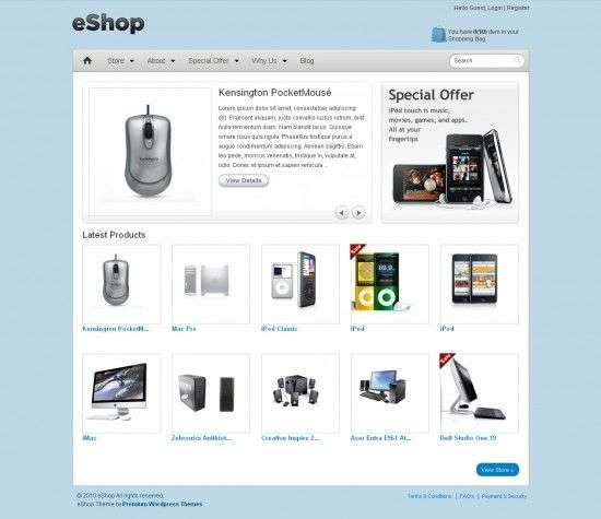 eshop ecommerce templatic themes 550x475 - eShop eCommerce Wordpress Theme