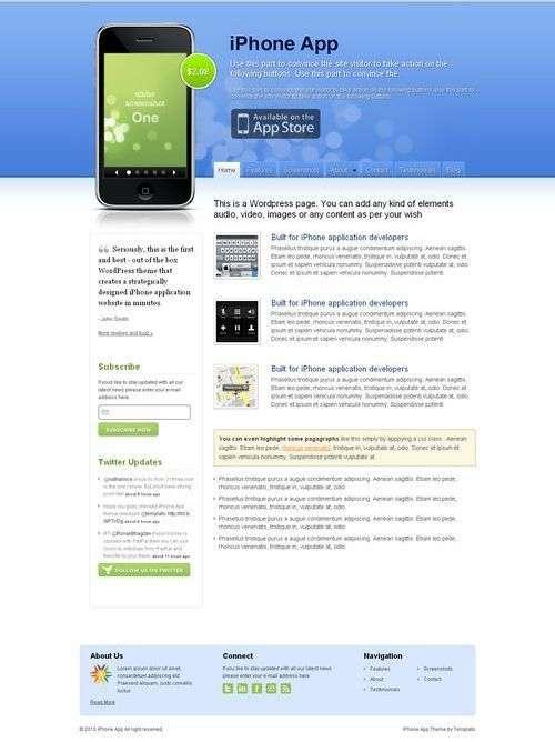 iphone app avjthemescom templatic themes - iPhone App Wordpress Theme