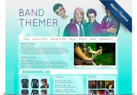 neon wordpress theme - BandThemer Wordpress Themes