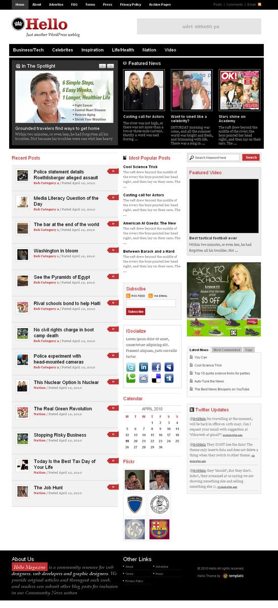hello wordpress theme - Hello Premium Wordpress Theme