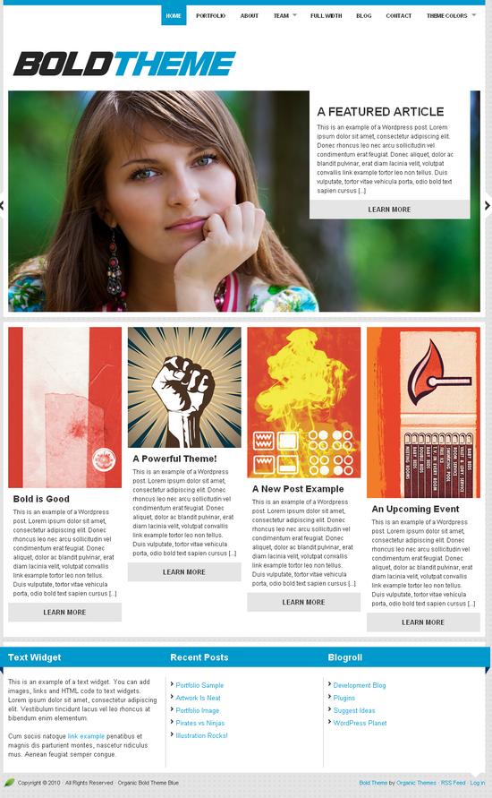 organic bold theme blue - OrganicThemes Wordpress Themes