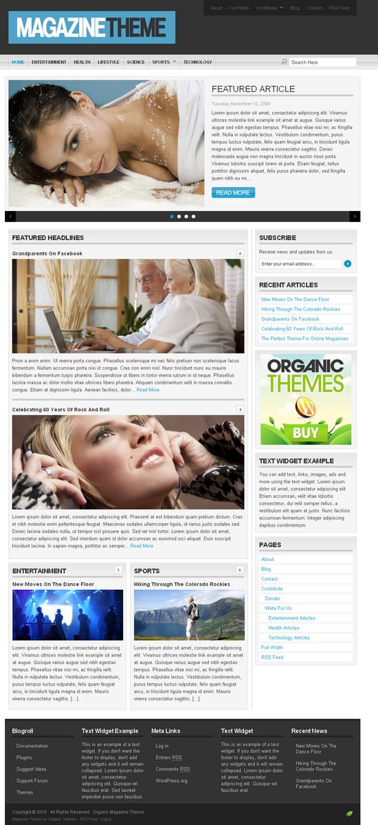 organic magazine wordpress theme - OrganicThemes Wordpress Themes