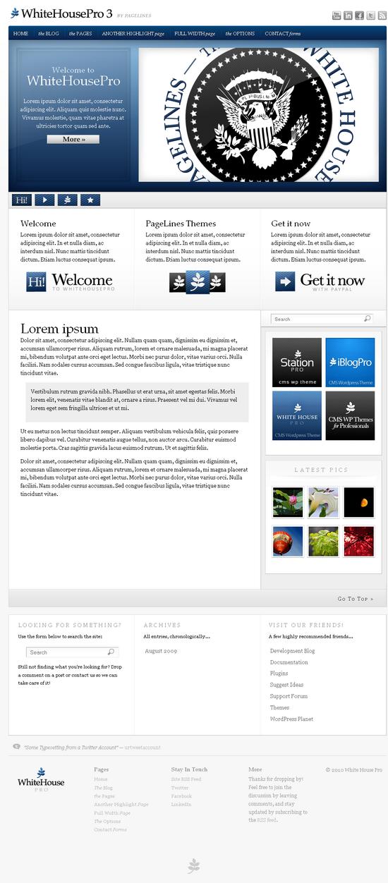 whitehouse pro wordpress theme - WhiteHousePro 3 Premium Wordpress Theme