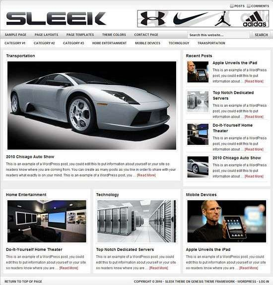 studiopress sleek wordpress theme - Sleek Premium WordPress Child Theme