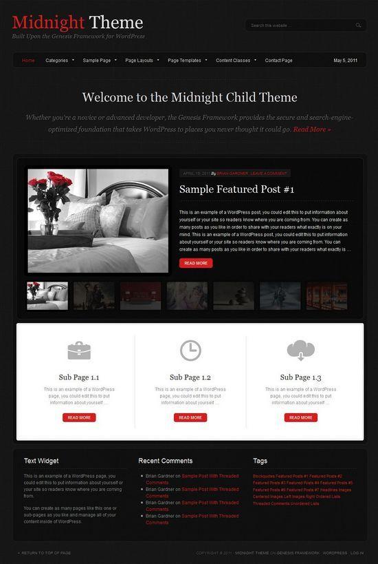 midnight wordpress studiopress theme avjthemescom - Midnight WordPress Theme