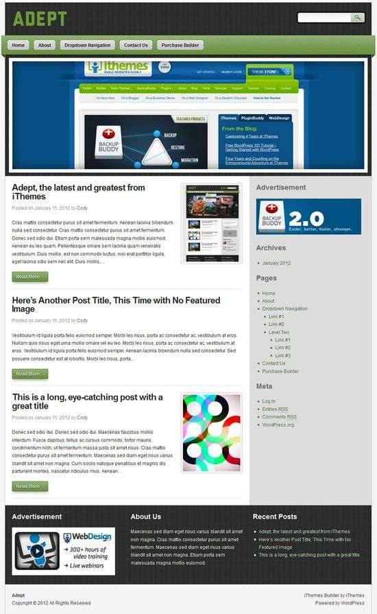 adept ithemes avjthemescom 01 - Adept WordPress Theme