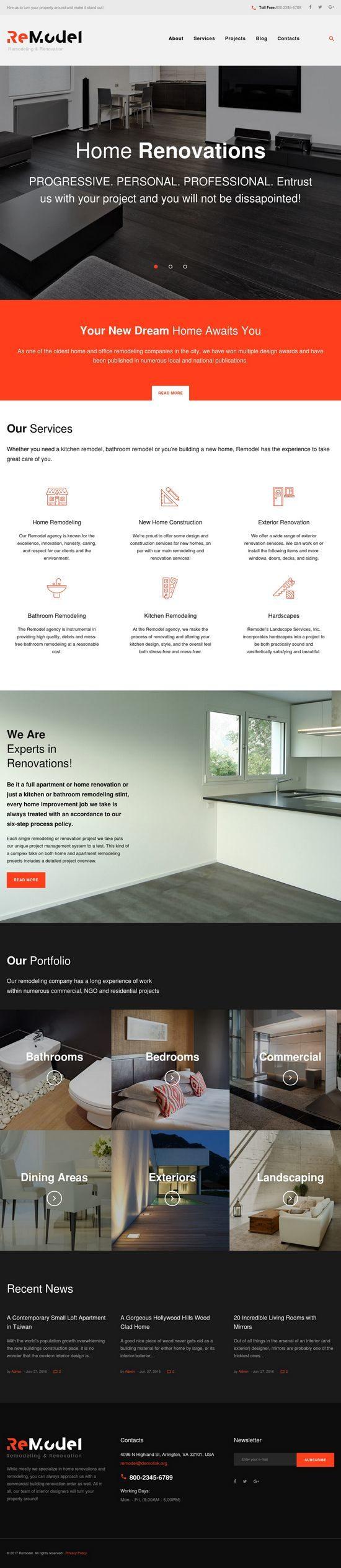 remodel interior design wordpress theme 01 550x2530 - Remodel WordPress Theme