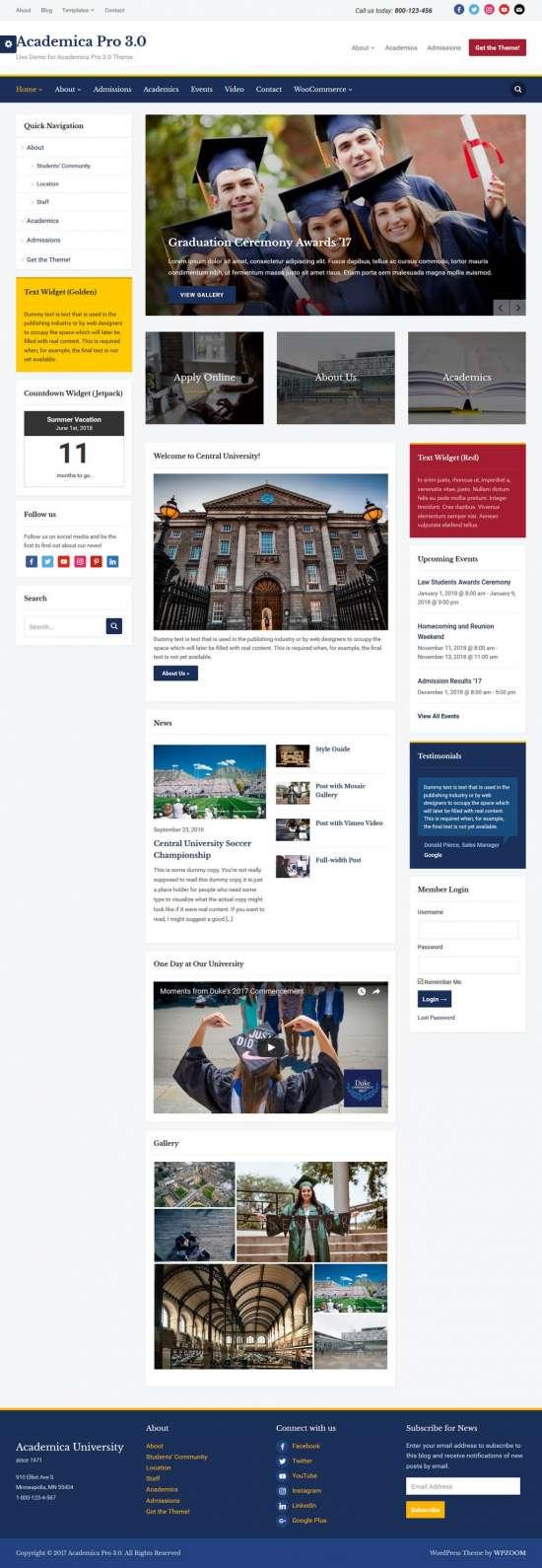 academica pro 3 education WordPress theme 01 550x1590 - Academica Pro 3.0 WordPress Theme