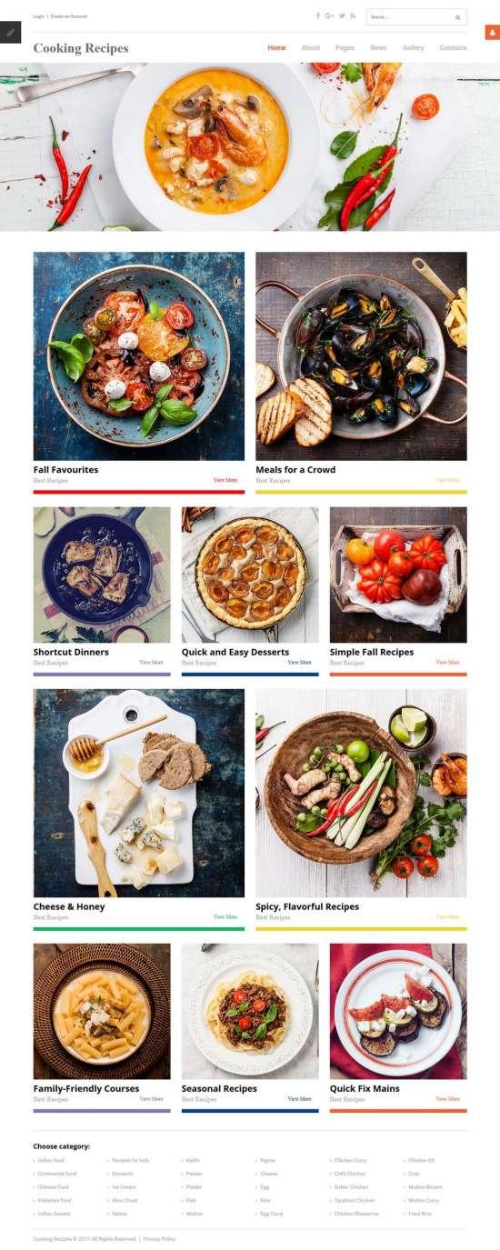 cooking receipes joomla template 01 550x1375 - Cooking Recipes Joomla Template