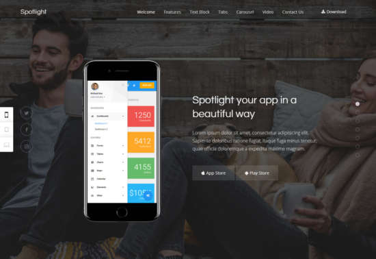 spotlight wordpress app themes 01 550x378 - Spotlight WordPress Theme