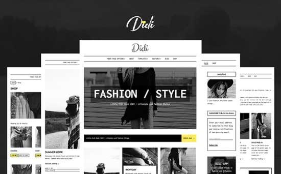 didi wordpress theme 01 550x342 - Top 20 Fresh Feminine & Minimal WordPress Themes