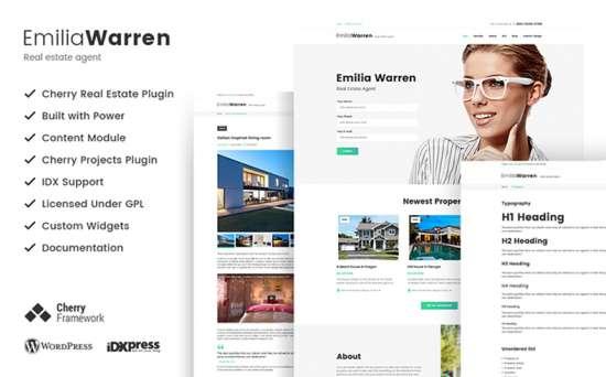 emilia warren wordpress theme 01 550x342 - Top 20 Fresh Feminine & Minimal WordPress Themes
