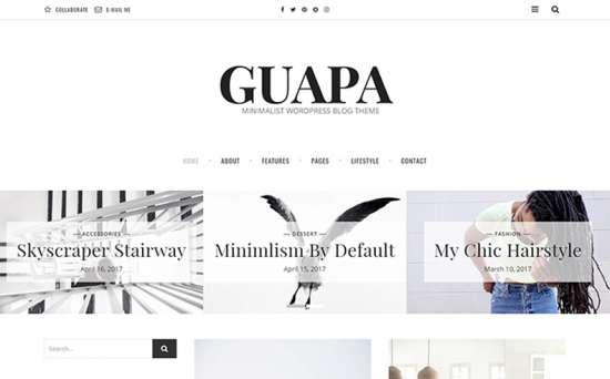 guapa wordpress theme 01 550x342 - Top 20 Fresh Feminine & Minimal WordPress Themes