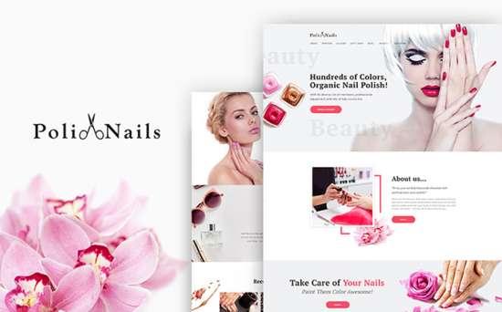 polinails wordpress theme 01 550x342 - Top 20 Fresh Feminine & Minimal WordPress Themes