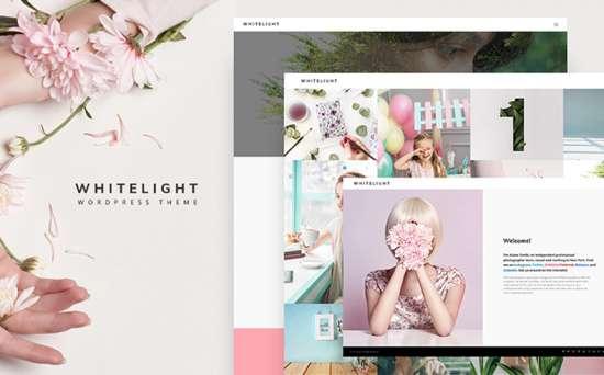 whitelight wordpress theme 01 550x342 - Top 20 Fresh Feminine & Minimal WordPress Themes
