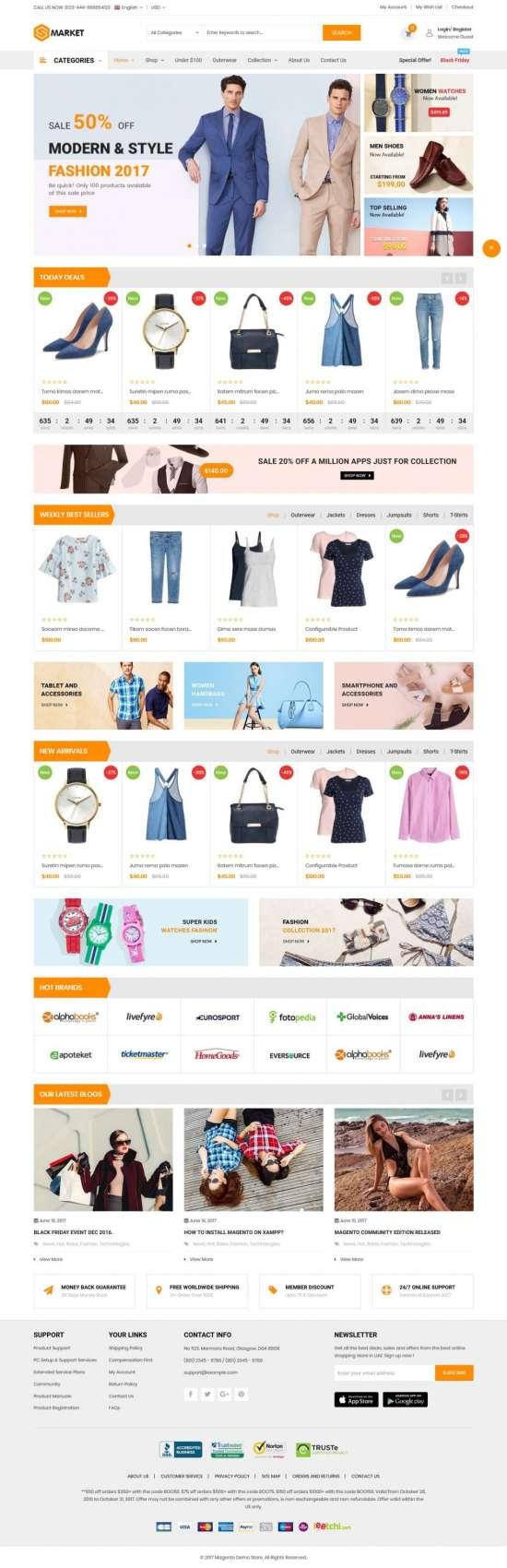 s market magento theme 01 550x1700 - S-Market Magento Theme