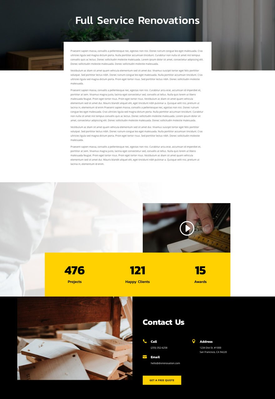 renovation about page - Renovation Divi Layout By Elegant Themes
