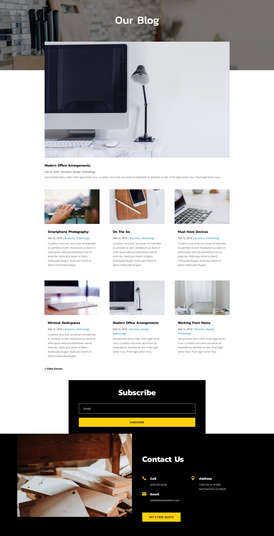 renovation blog page - Renovation Divi Layout By Elegant Themes
