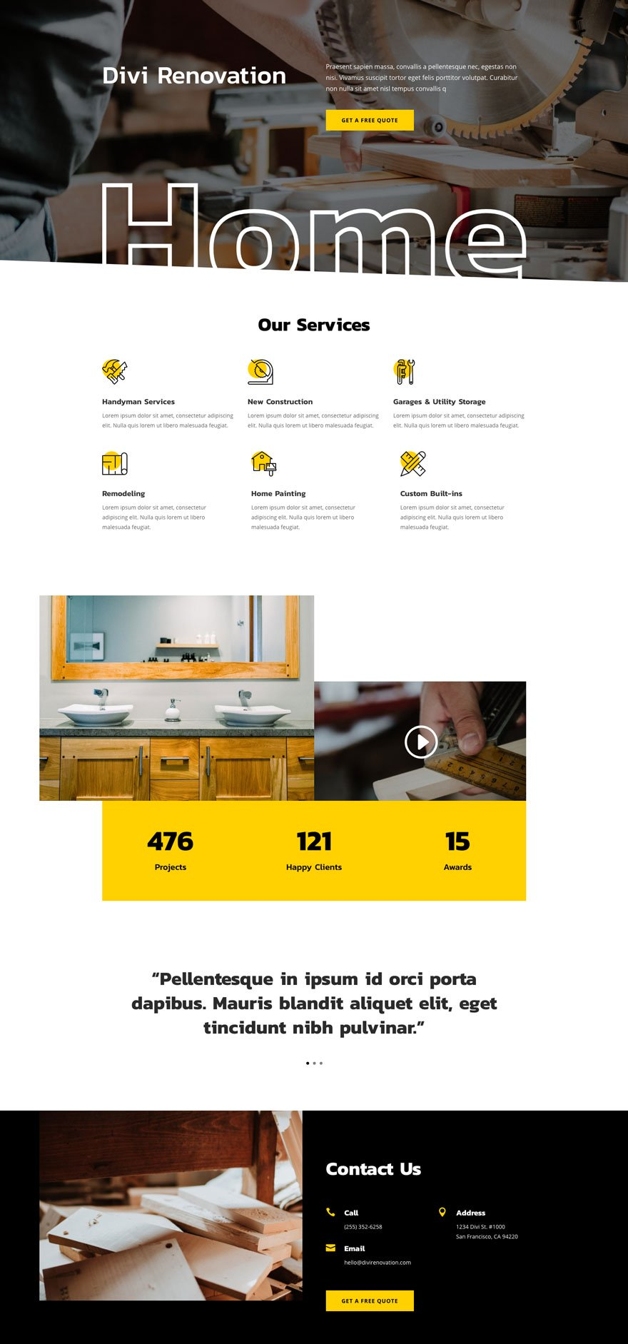 renovation home page - Renovation Divi Layout By Elegant Themes