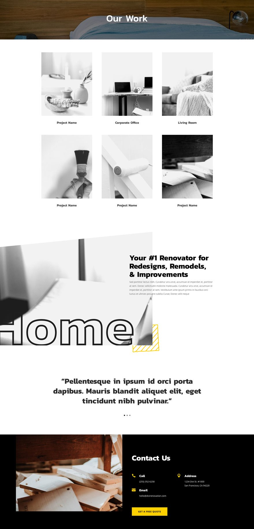 renovation projects page - Renovation Divi Layout By Elegant Themes