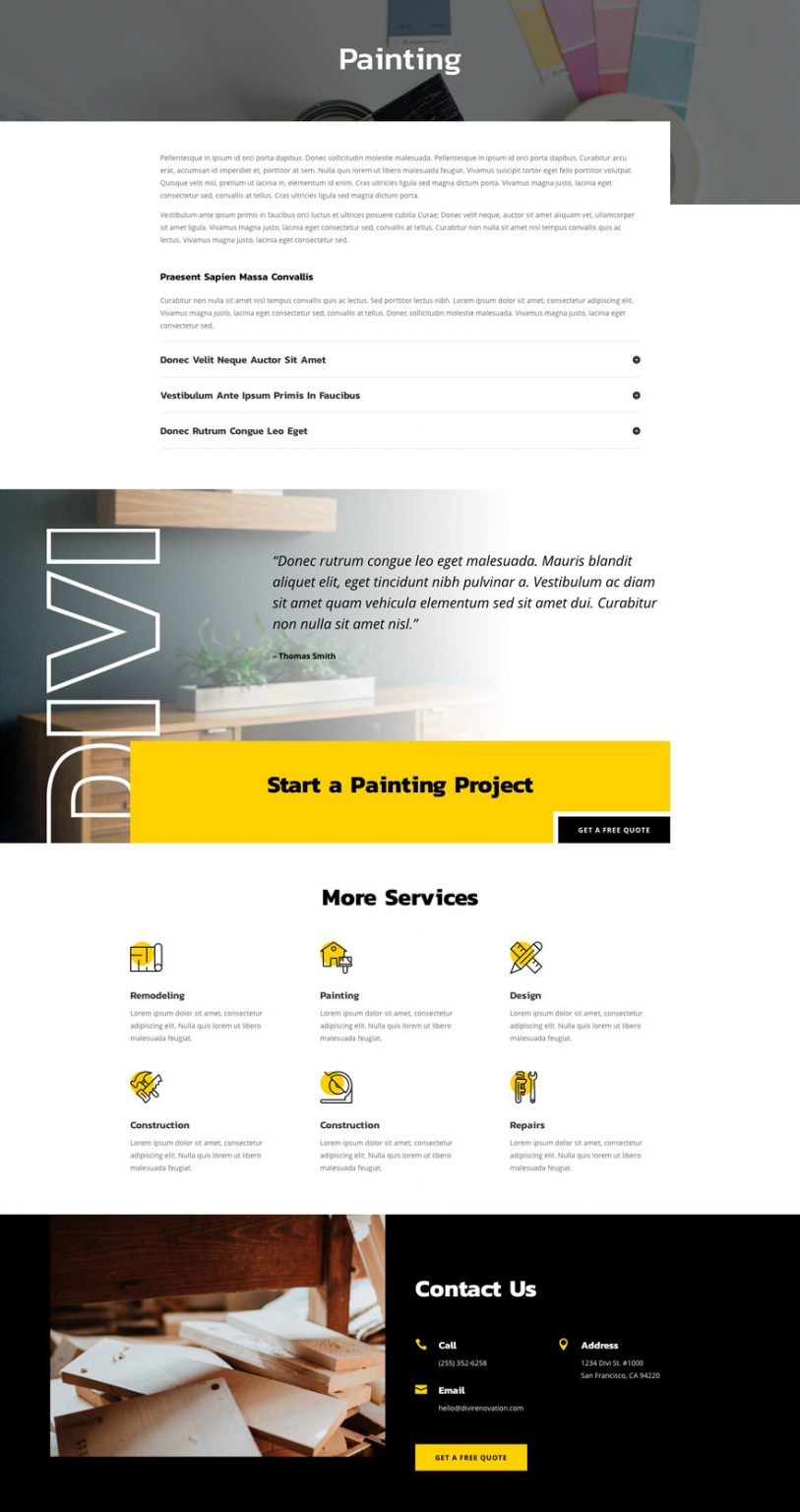 renovation service page - Renovation Divi Layout By Elegant Themes