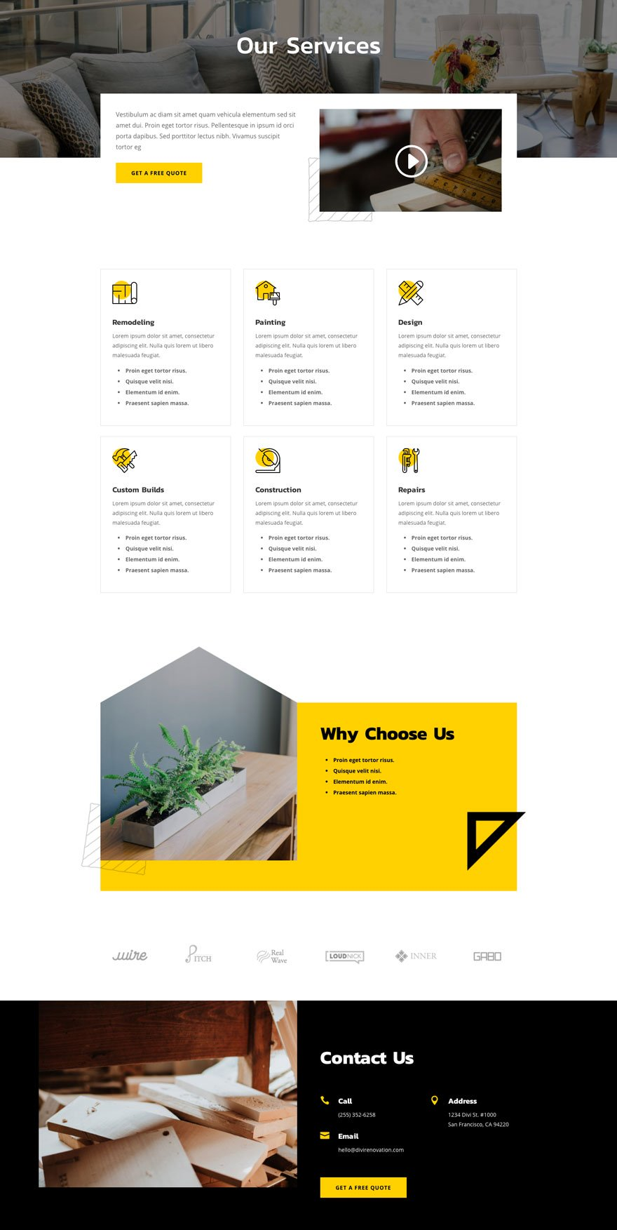 renovation services page - Renovation Divi Layout By Elegant Themes