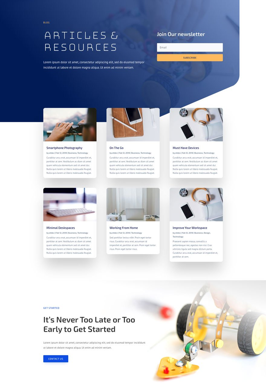 robotics blog page - Robotics Divi Layout By Elegant Themes
