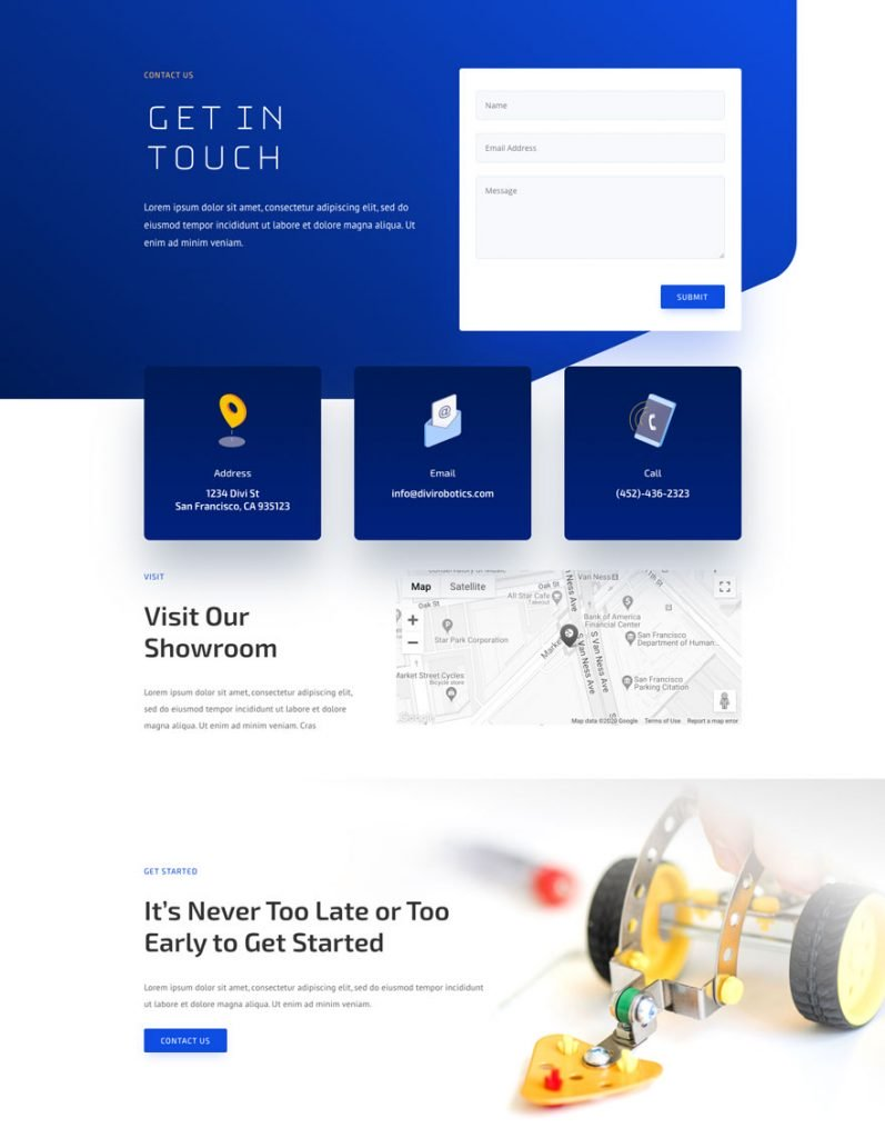 robotics contact page - Robotics Divi Layout By Elegant Themes