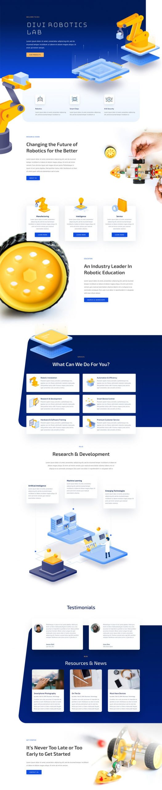 robotics landing page scaled - Robotics Divi Layout By Elegant Themes