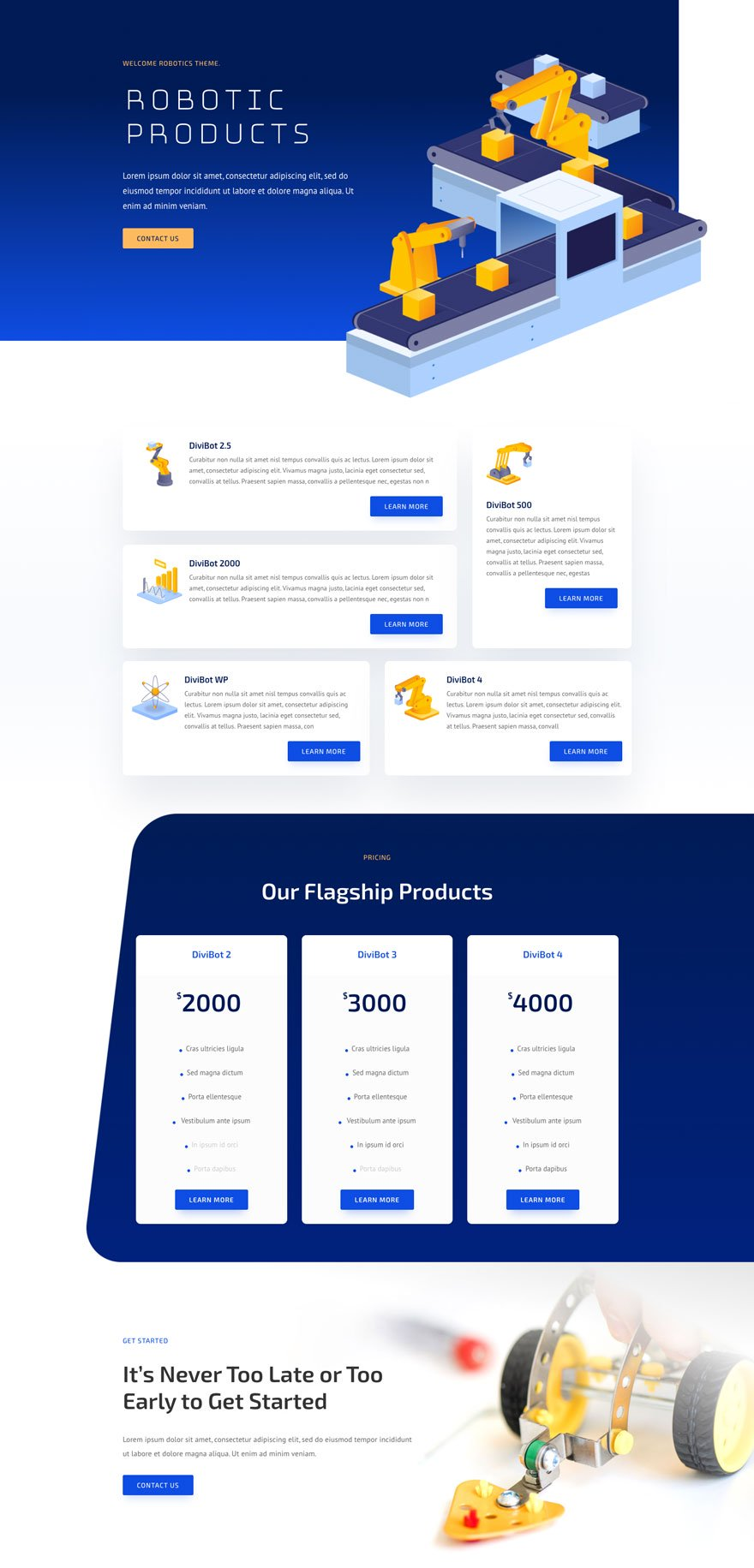 robotics products page - Robotics Divi Layout By Elegant Themes