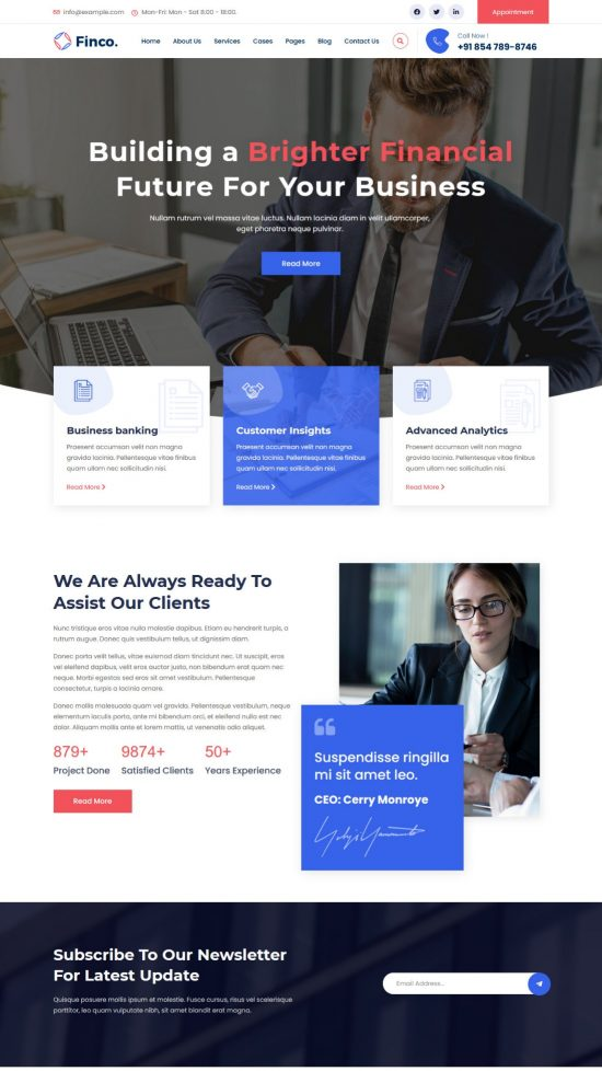 finco premium wordpress theme 01 550x978 - Finco Premium WordPress Theme