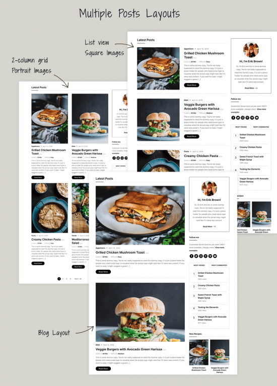 gourmand premium wordpress theme post layouts 550x767 - Gourmand Premium WordPress Theme