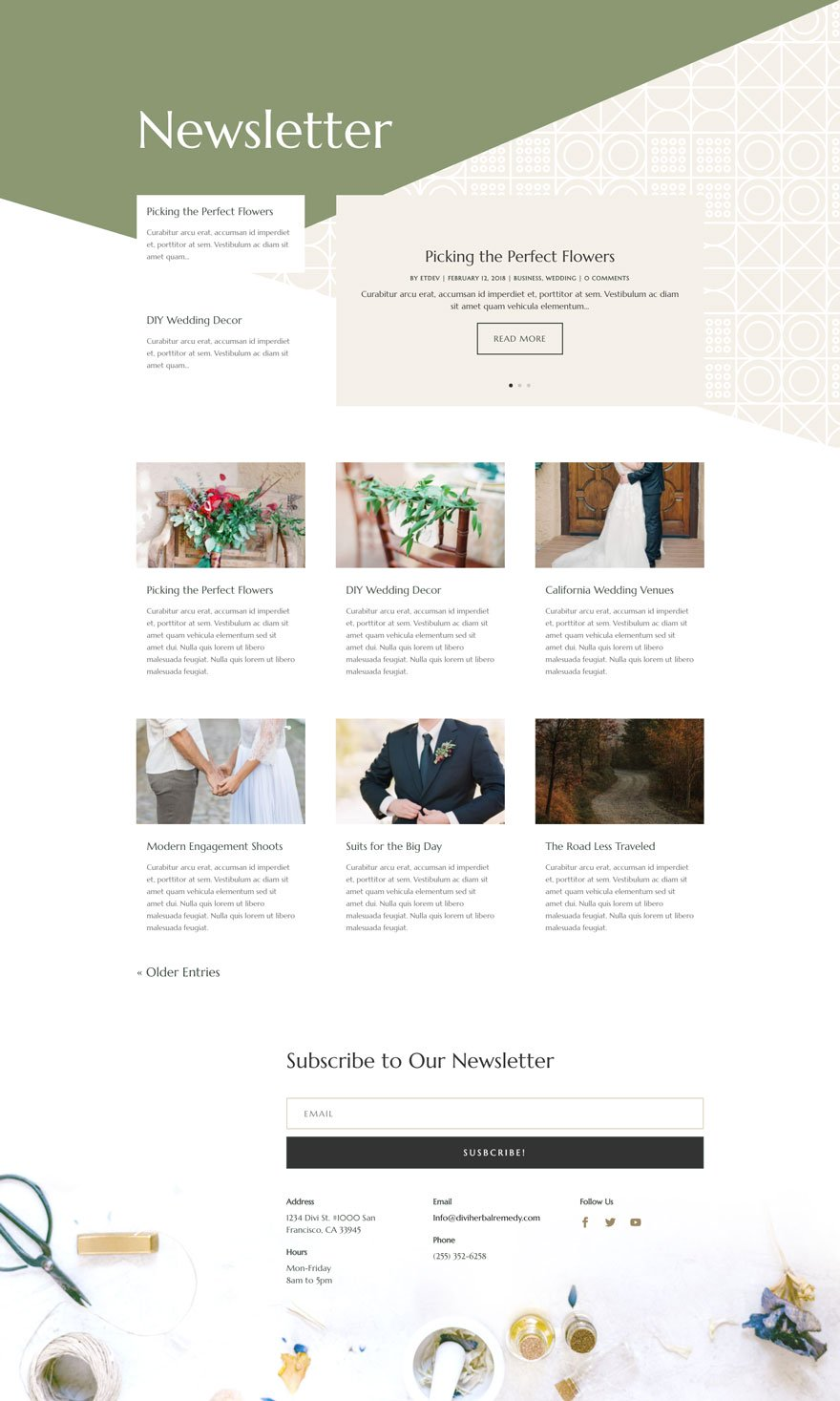 herbal remedy blog page - Herbal Remedy Divi Layout By Elegant Themes