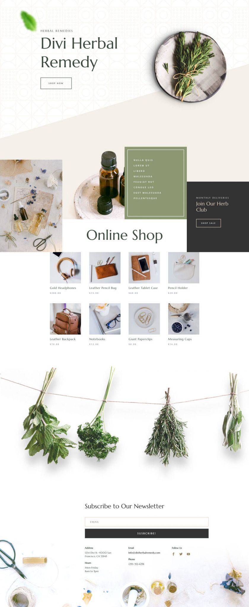 herbal remedy home page - Herbal Remedy Divi Layout By Elegant Themes