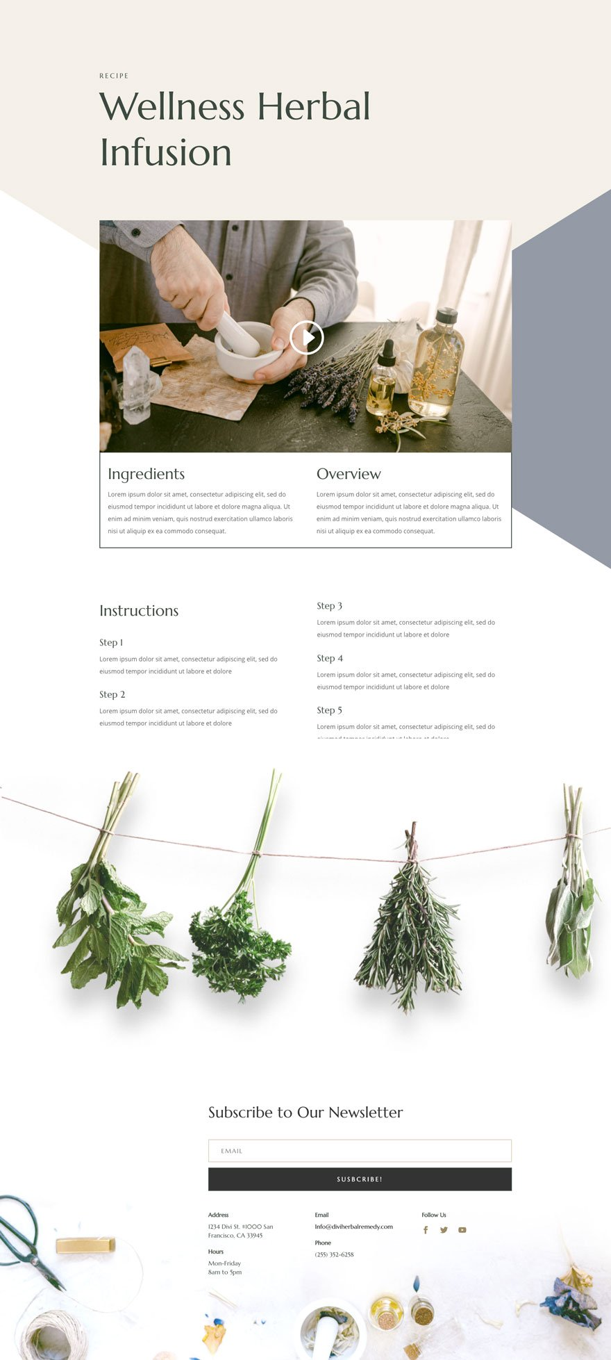 herbal remedy recipe page - Herbal Remedy Divi Layout By Elegant Themes
