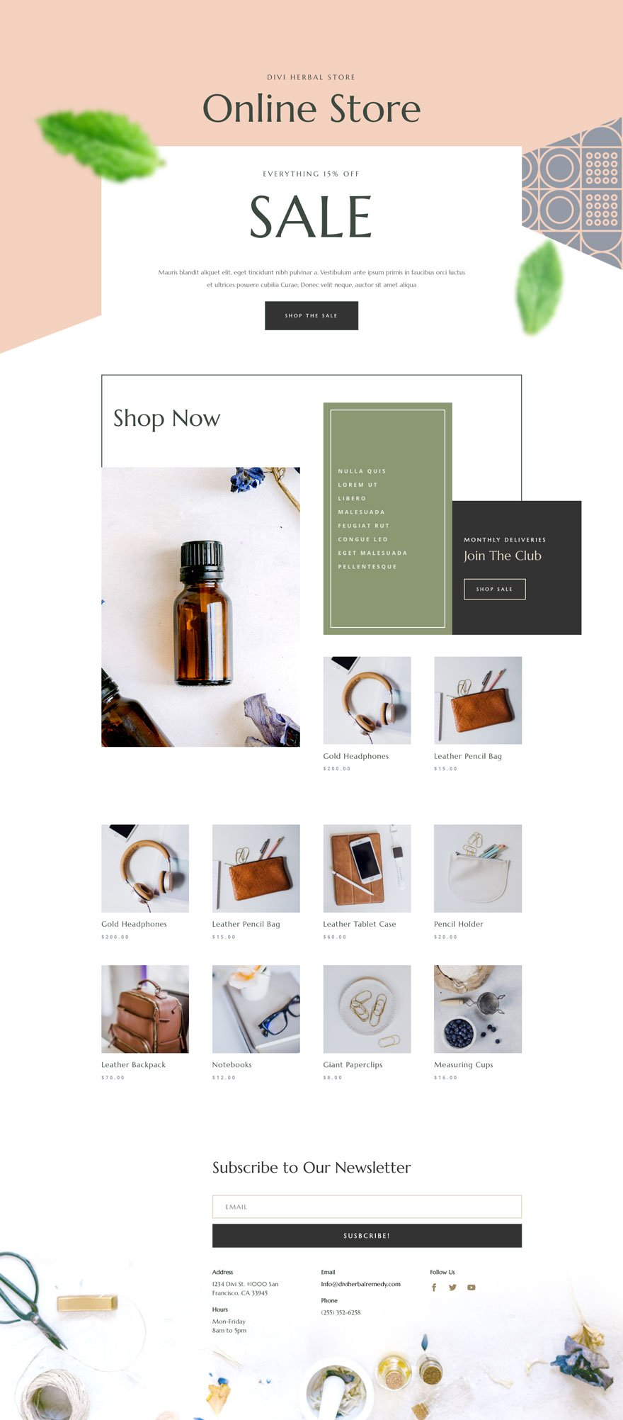 herbal remedy shop page - Herbal Remedy Divi Layout By Elegant Themes