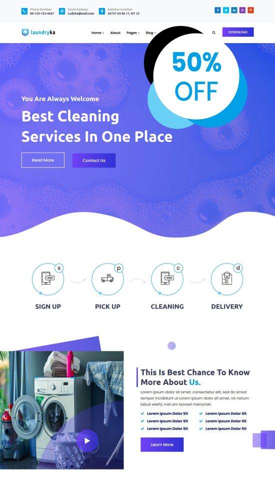 laundryka premium wordpress theme 01 550x962 - Laundryka Premium WordPress Theme